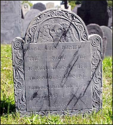 HERE LYES BURIED  THE BODY OF  MRS RUTH HOOPER WIFE  TO MR ROBERT HOOPER Junr  WHO DEPARTED THIS LIFE  JULY Ye 23d 1732  AGED 20 YEARS & 6 Mo