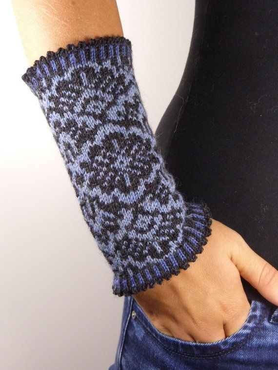 "Photo of Heart rate Warmer-""Andrea"" knitted Fair Isle wrist warm Wristlet trend pulse warmer autumn fa…"