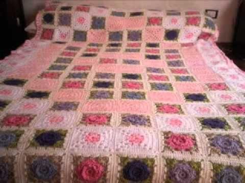 T p fair violets manta a crochet ganchillo mas mas - Mantas de ganchillo para sofas ...