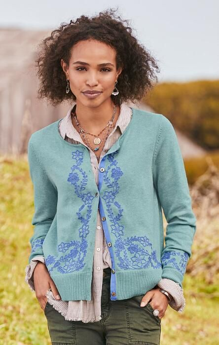 Our Embroidered Recollections Cardigan Offers Vintage Details And Inviting Softness In 2020 Jersey Knit Cardigan Small Clothes Casual Fashion