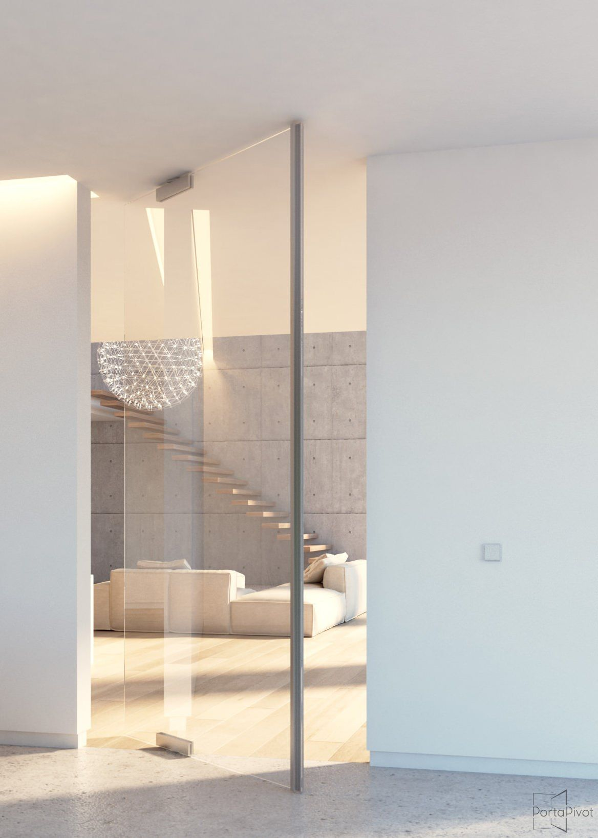 Modern All Glass Pivot Door With Compact Glass Patch