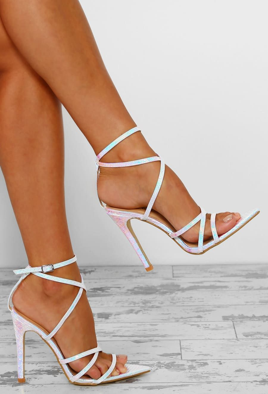 58b8b9d51500fe Strut And Shimmer White Unicorn Iridescent Strappy Heels - UK 3 in ...