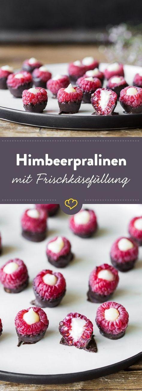 Himbeer-Schoko-Pralinen mit Frischkäsefüllung