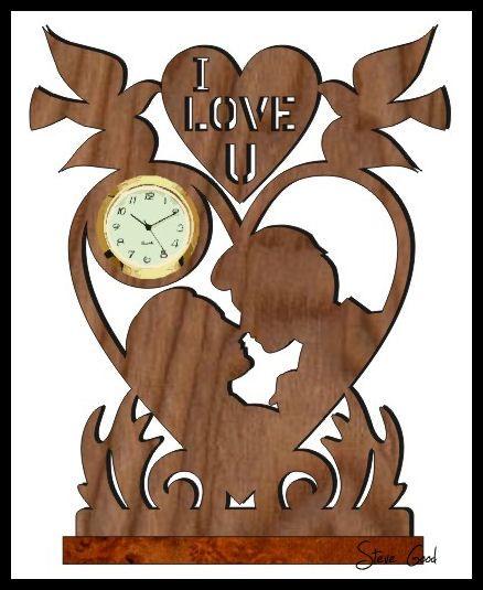 Lovers Mini Clock Scroll Saw Pattern  | Scroll saw