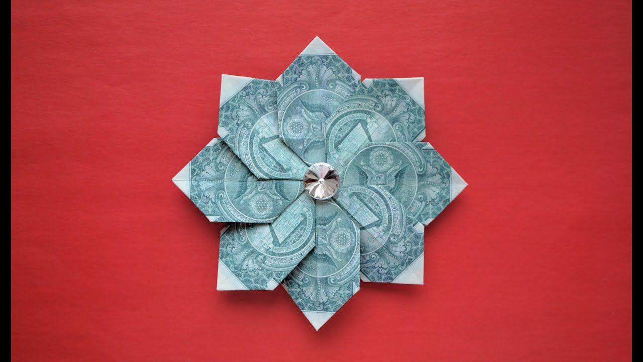 My Money Beautiful Flower Dollar Origami Decoration Tutorial Diy By In 2020 Dollar Bill Origami Money Origami Tutorial Dollar Origami
