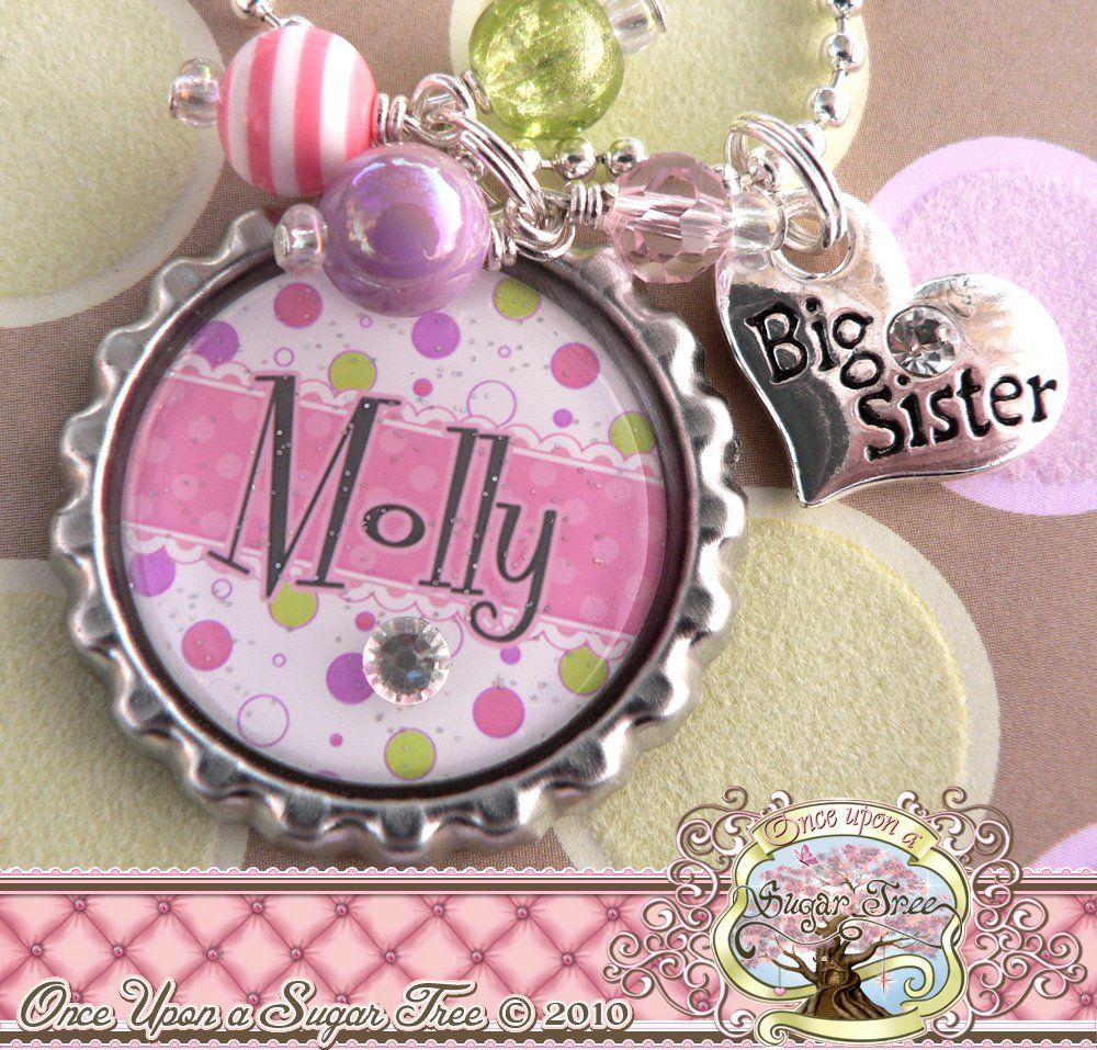 Personalized Big Sister Gifts, Name Bottle Cap Necklace, Heart Charm ...