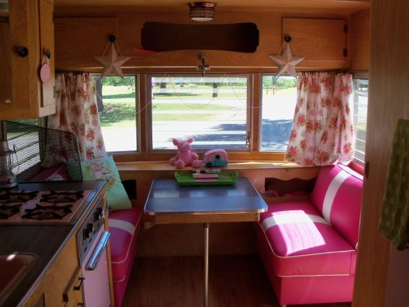 StefAnie Wells Vintage travel trailer redo in pink Pink