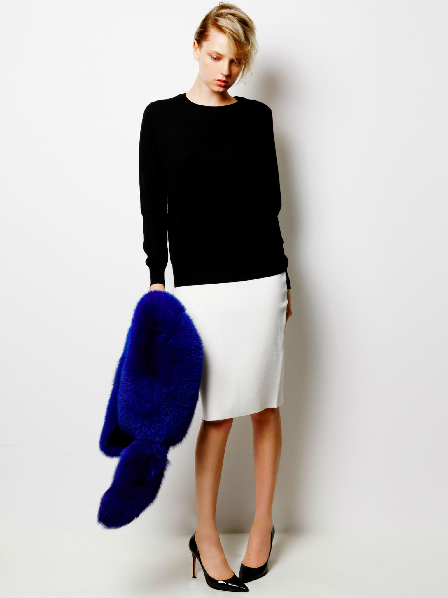 Bi-color Knit, Patent Leather Skirt and Fox Fur Stole / LE CIEL BLEU