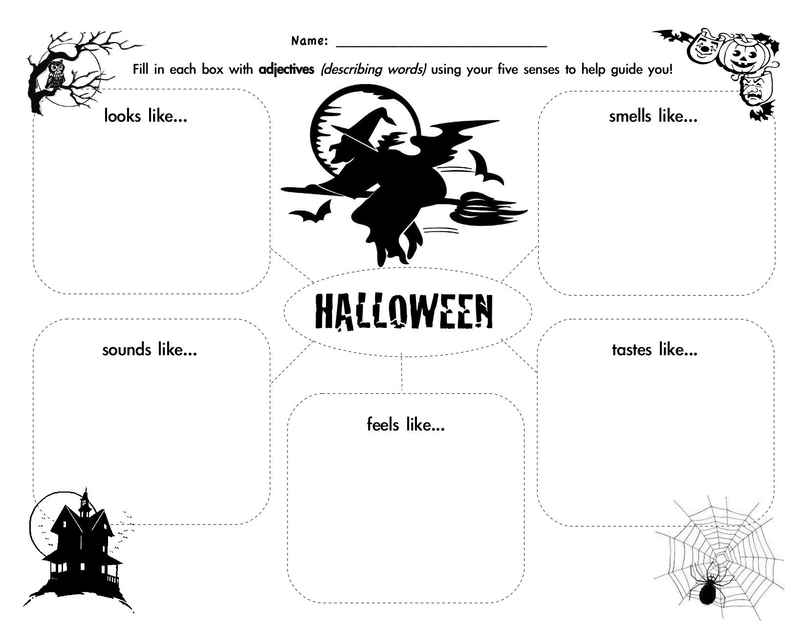 Halloween Graphic Organizer Descriptive Adjectives