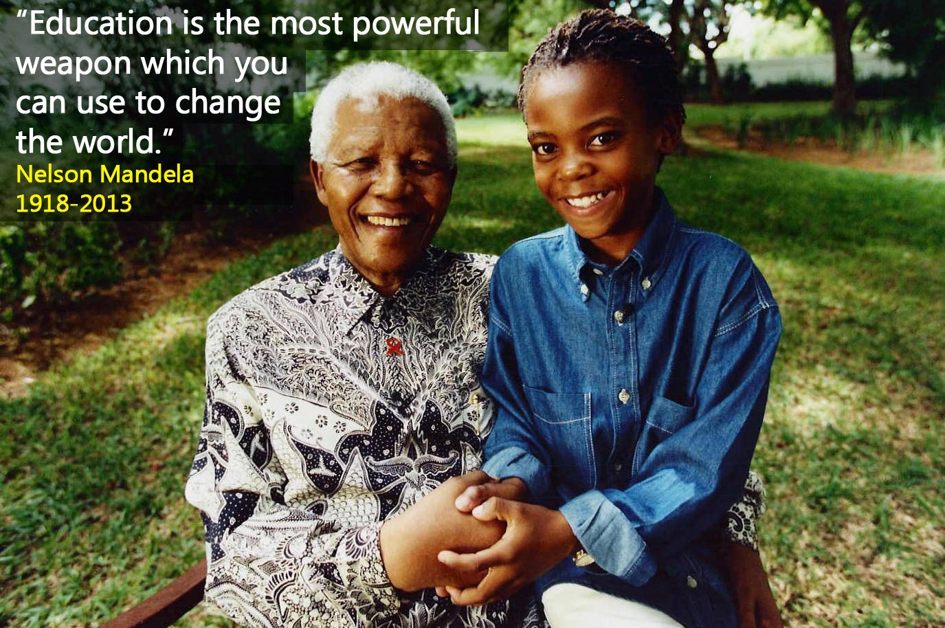 """The world has lost a true hero today, a champion for children everywhere. UNICEF joins millions of people around the world mourning the loss of Nelson #Mandela, former President of South Africa.   One of our favorite phrases from #NelsonMandela - """"Education is the most powerful weapon which you can use to change the world.""""  Read more http://uni.cf/1coJjF1"""