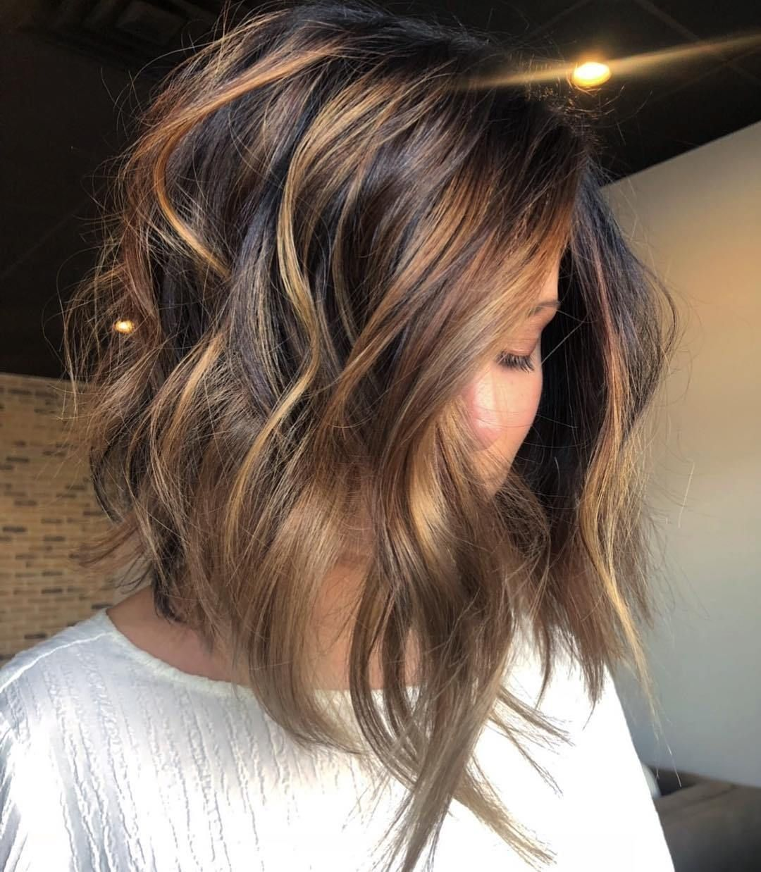 Dark Bob With Copper And Golden Blonde Highlights Brunette Hair Color Hair Color Balayage Balayage Hair