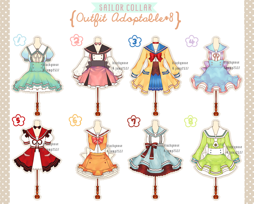 [OPEN] Sailor Collar Outfit Adoptable#8 by Black-Quose.deviantart.com on @DeviantArt