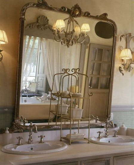 Vintage Mirrors More Than Just For Looks Re Inventing Vintage French Country Bathroom French Bathroom French Bathroom Decor French country bathroom decorating ideas