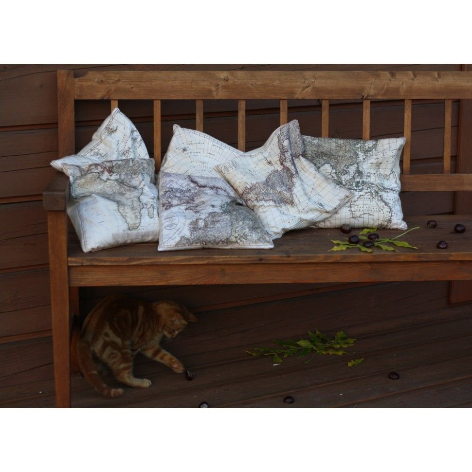 set of six map pillows filled with a buckwheat peels the pillows