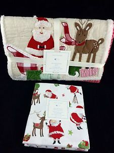 NWT Pottery Barn Kids Christmas Santa Quilt  Toddler Crib Nursery