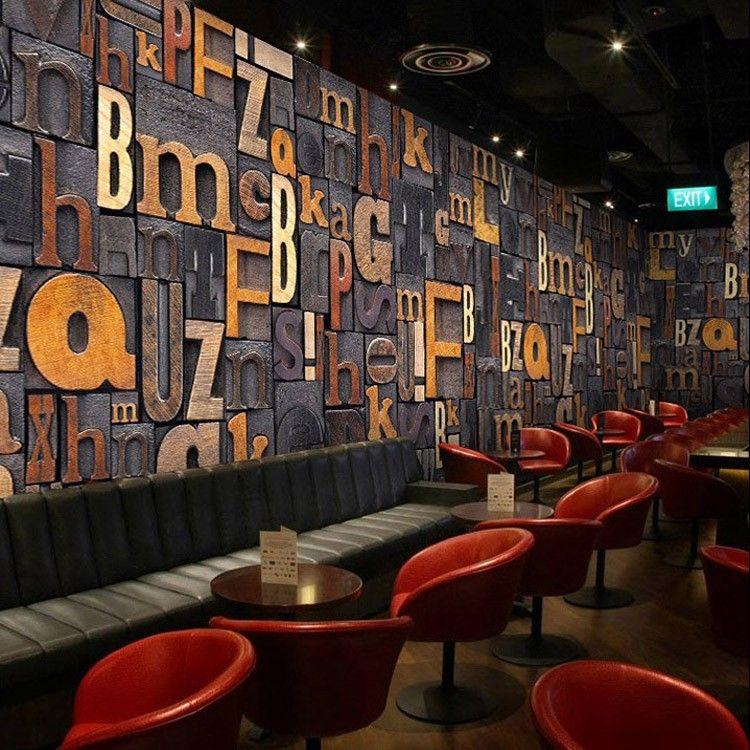 3d Effect Bookcase Wallpaper Club Wall Paper 3d Letters Mural Carta Da Parati