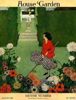 Vintage House Garden Covers Prints Garden Illustration