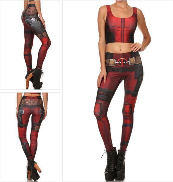 288057df2890a Women Lady Deadpool Cosplay Plus Size Gym Yoga Skinny Stretch Fitness  Leggings