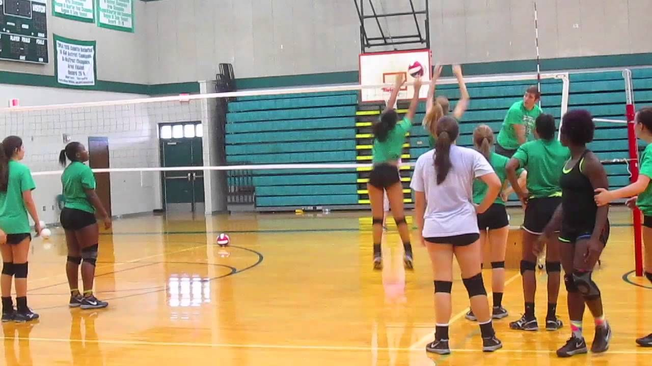 Blocking Drill Catching Ball On Other Side Movement In Pairs Volleyball Drills Volleyball Workout