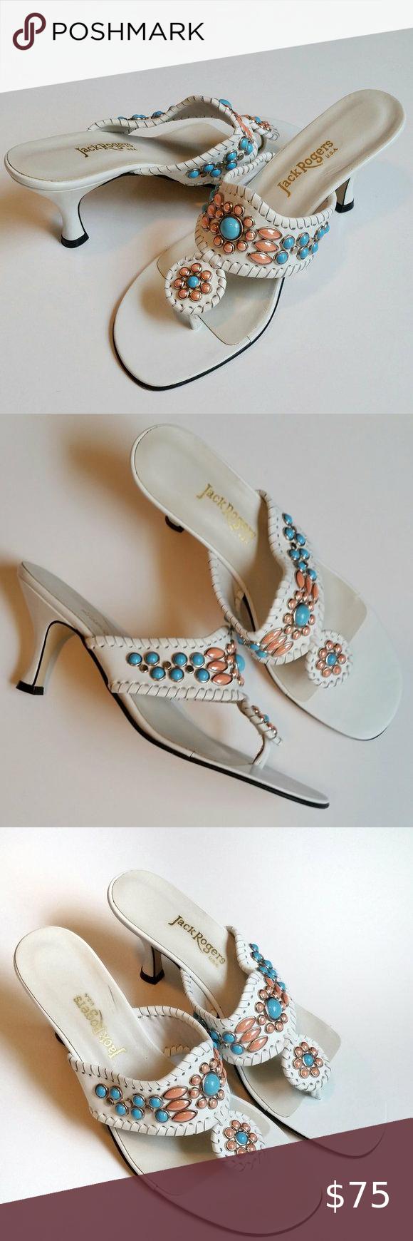 Jack Rogers Embellished Kitten Heel Sandals 9 In 2020 Kitten Heel Sandals Sandals Heels Shoes Women Heels