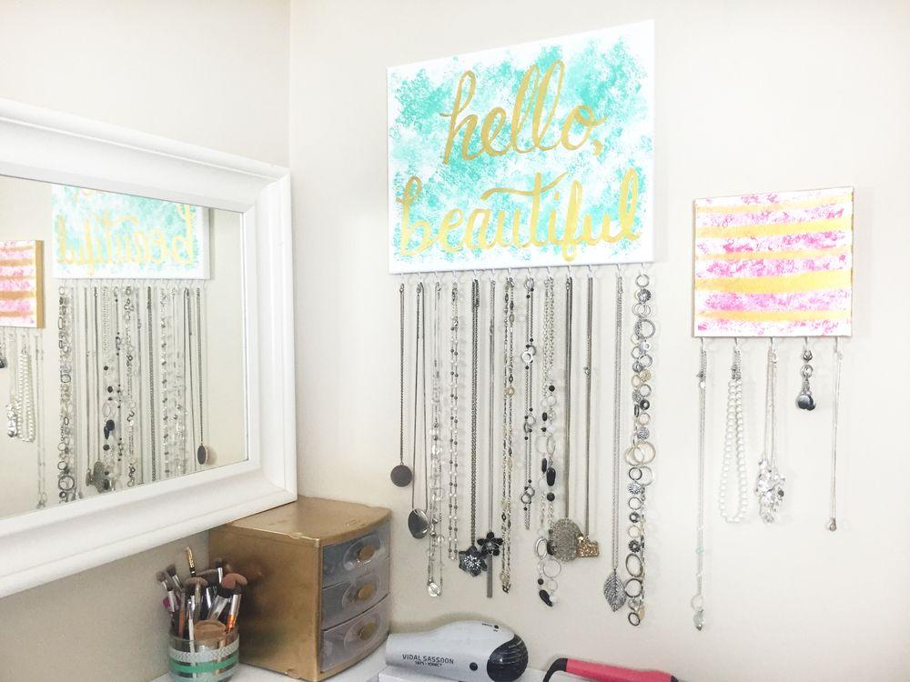 DIY Canvas Jewelry Organizer Art GIVEAWAY Diy canvas Necklace