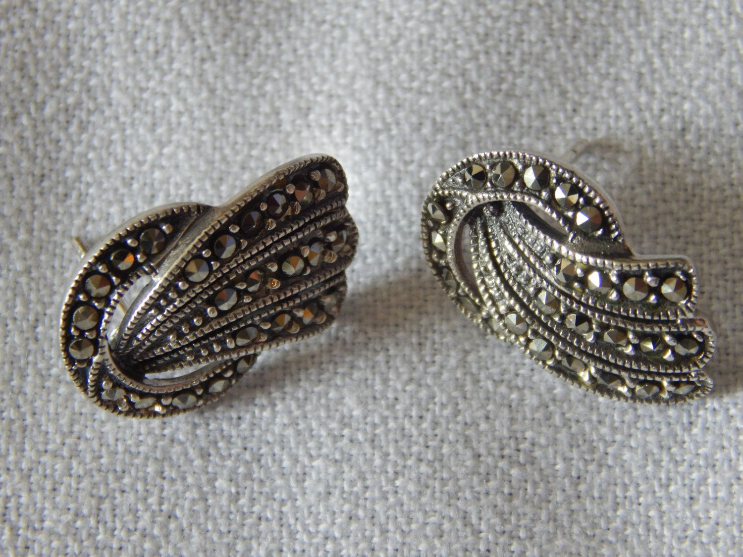 Vintage Sterling Silver Marcasite Earrings by AlwaysPlanBVintage on Etsy