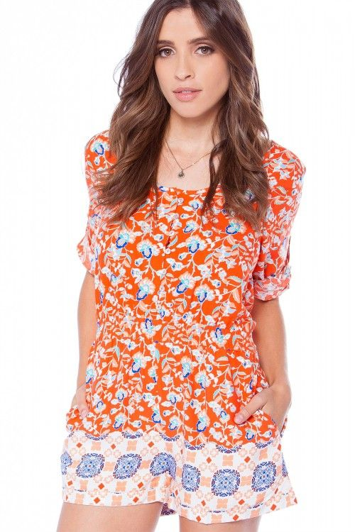 b1e9d375951 MINKPINK Neighbourhood Playsuit - Floral Print Romper - Orange and Blue  Romper -  78.00