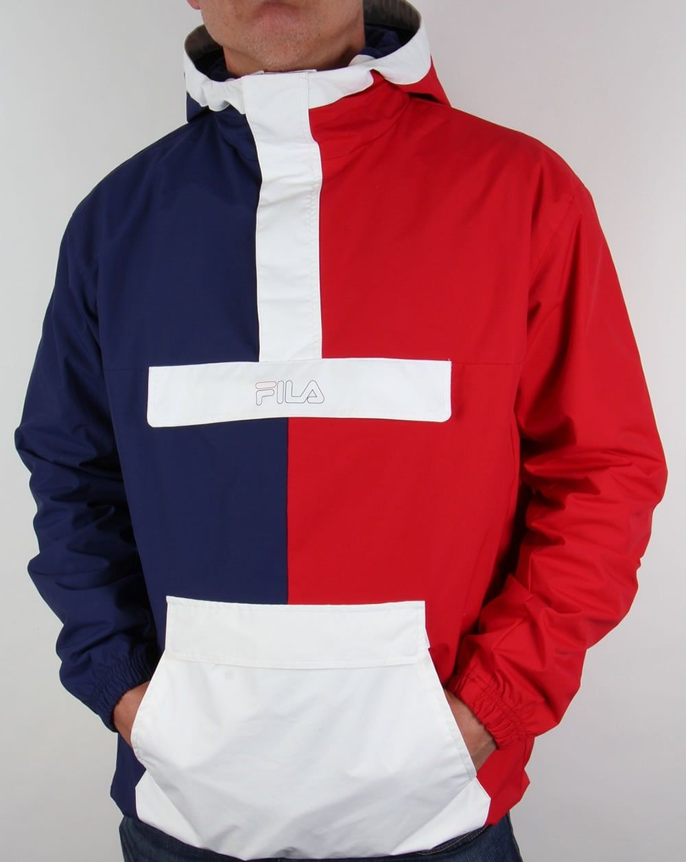 Fila Sweatshirt Jacket Hood Bomber Zip Vintage Men Women White Red Navy Blue Oldschool kstuJgXqpN