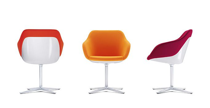 Turtle chair by Walter Knoll.  Design by PearsonLloyd.  Swivel base. Modern bucket seat. White or black plastic and upholstery.
