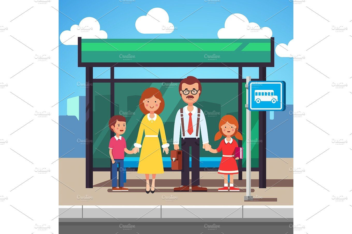 Family Waiting For Transit On A City Bus Stop Bus Stop City Drawing Cartoons Vector