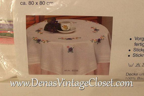 Vintage German Hand Embroider White Cotton Table Cloth Kit 80 X 80 Cm