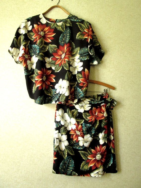 eed52dbb57f Tropical Print Dress oversized top   short wrap sarong 2 pc skirt floral  flowers Hawaiian resort vintage 80s 90s women 8 medium Leger