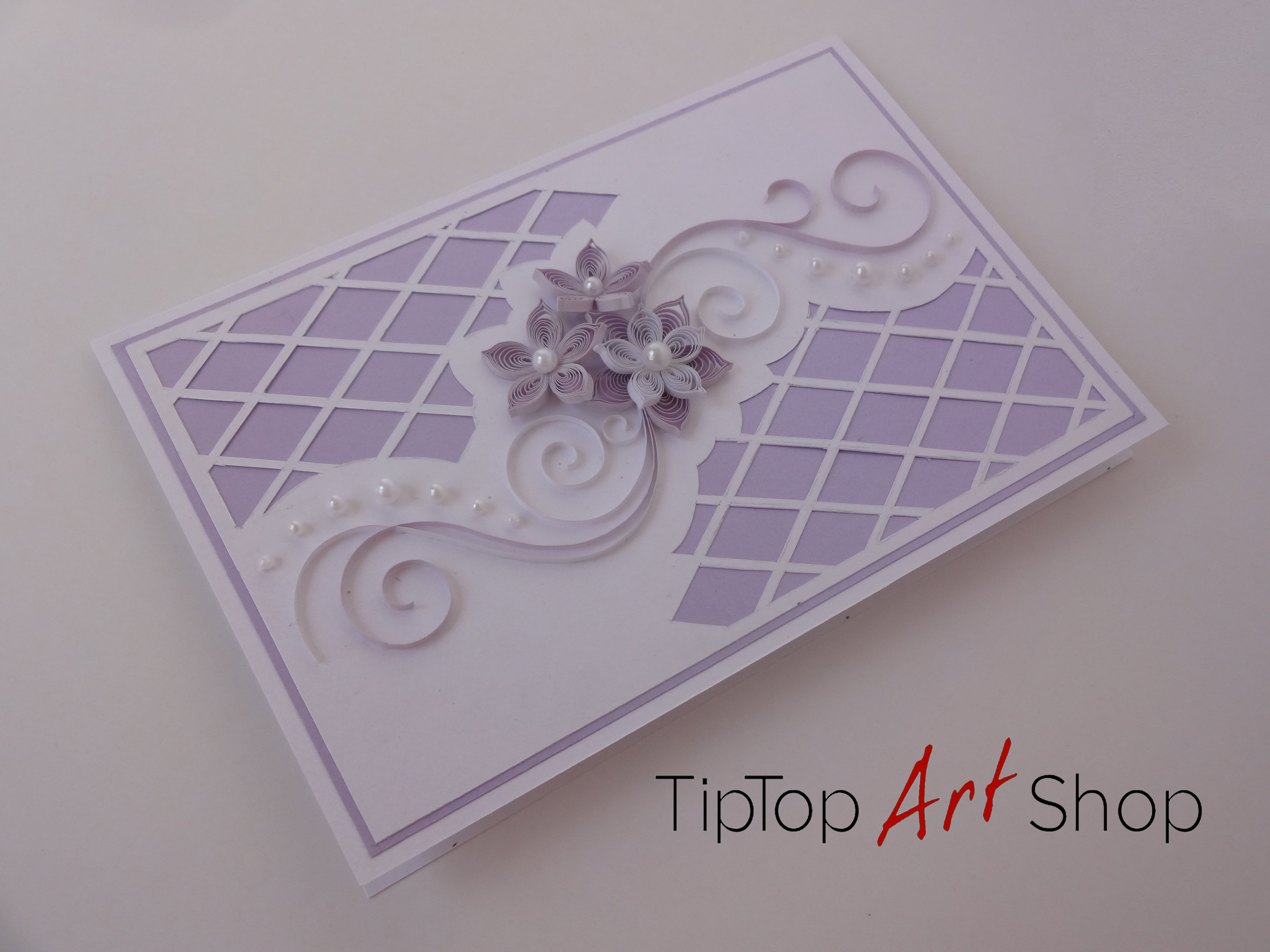 Wedding Invitation Card Paper: Paper Quilling Wedding Card In White And Lilac With 3D