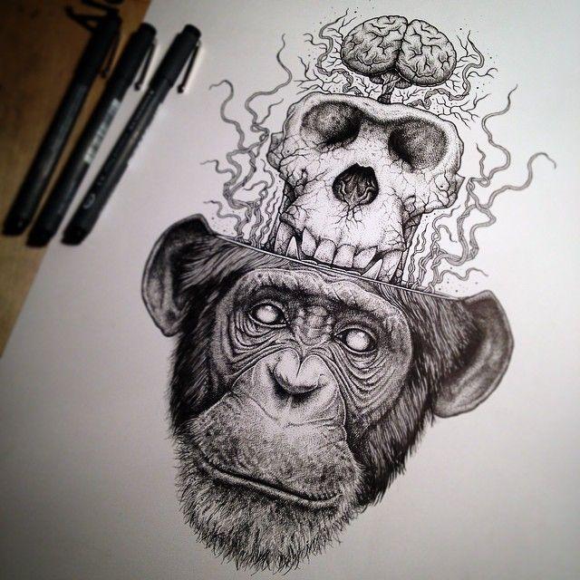 monkey brain | figurative self portrait in 2019 | Skull ...