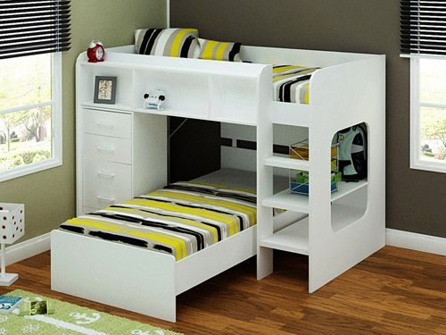 Cool E Saving L Shaped Twin Bunk Beds For 3 Persons They