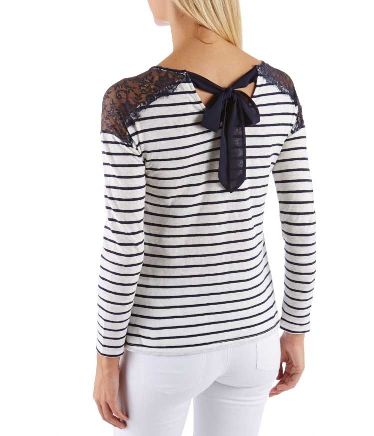 T-shirt esprit marinière dentelles épaules, blanc et bleu marine, Camaieu