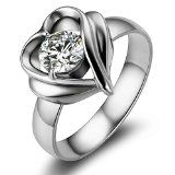 Flongo Stainless Steel Ring Women Sparkling Heart Shape Knot Friendship Love Promise Proposal Wedding Band, 6-7 Size Available