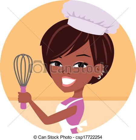 Clipart Vector Of Woman Baker Chef African American Young Woman Wearing Chef Csp17722254 Search Clip Girl Cartoon African American Art American Cartoons