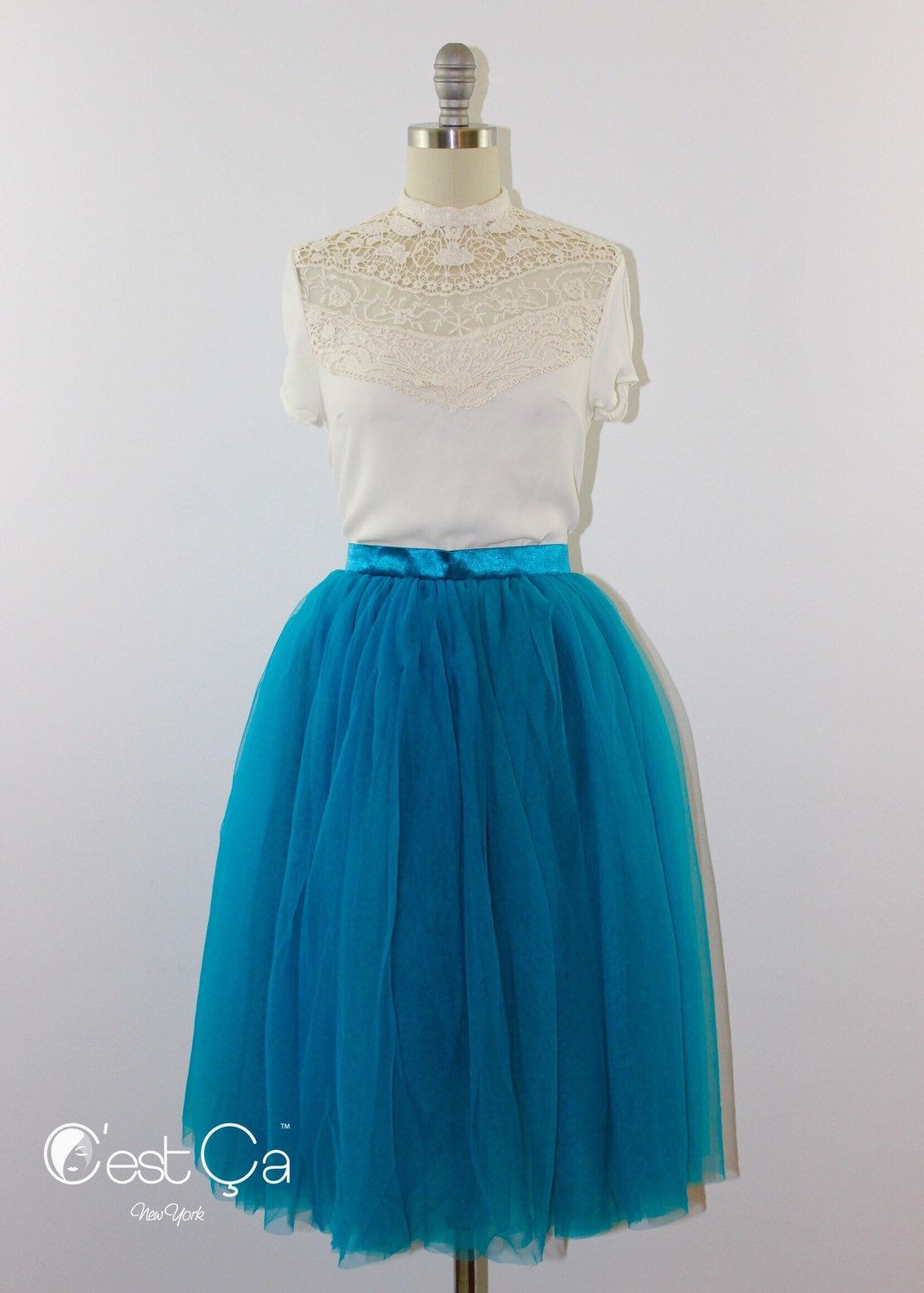 d29a45a2f2 New to CestCaNY on Etsy: Colette - Tulle Skirt Teal Tulle Skirt Soft Tulle  Skirt Tea Length Tutu Layered 4-layersTulle Skirt Dance Skirt Bridasmaids  Skirt ...
