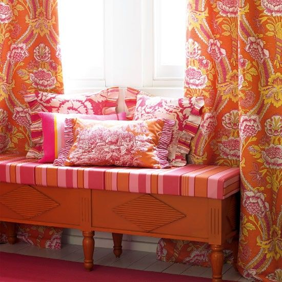 Patterned rooms | Orange curtains, Room ideas and Bedrooms