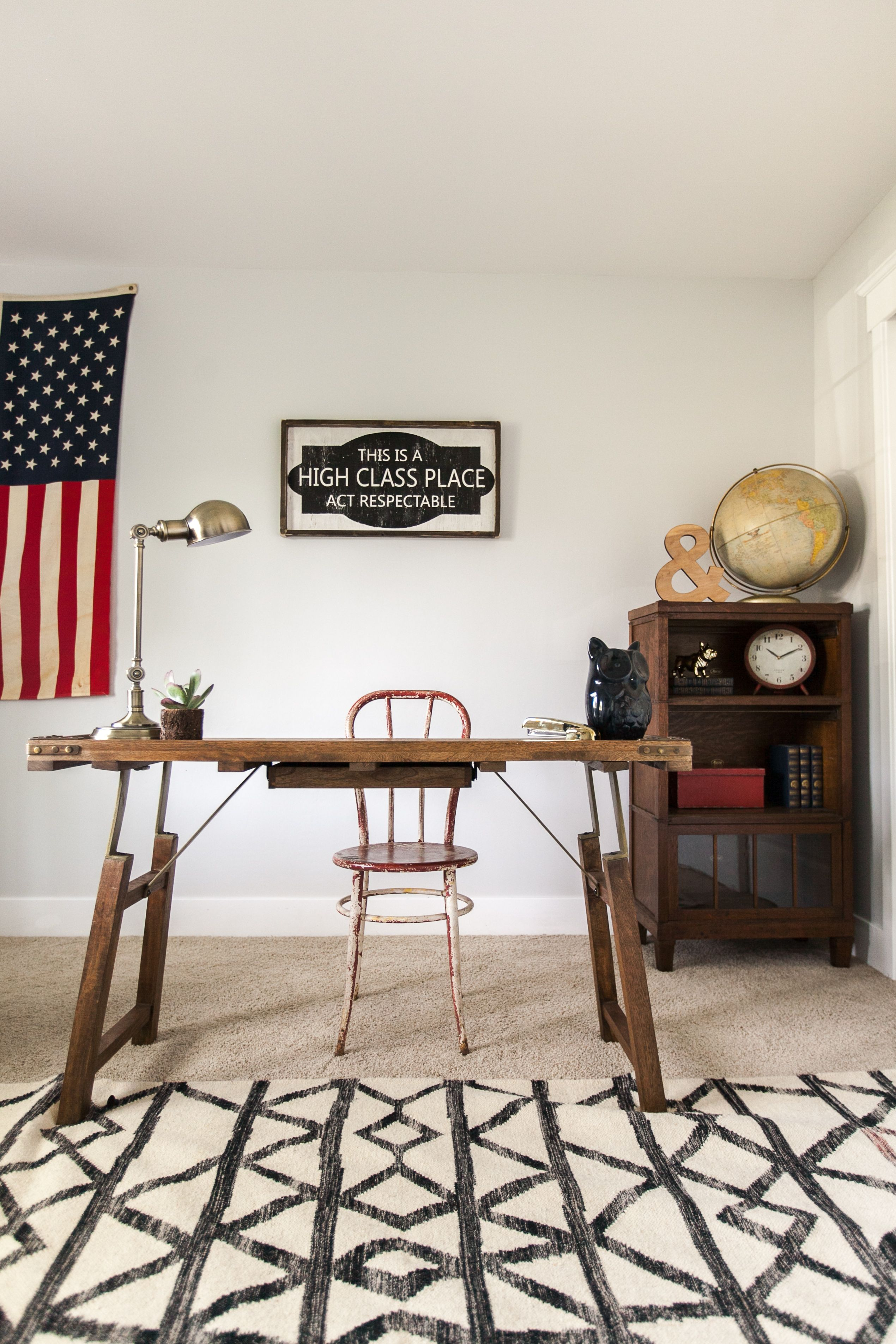 """Home fice"""" with sign by Jaxn Boulevard and desk from Anthropologie"""