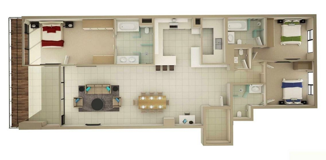 50 Three 3 Bedroom Apartment House Plans Architecture Design House Plans Three Bedroom House Plan Bedroom House Plans