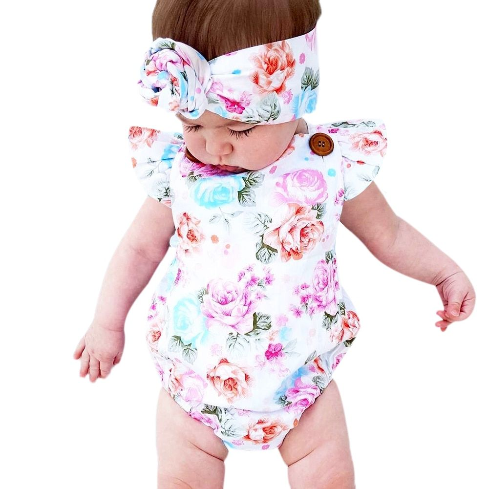 58ae0b06016c 2018 New Fashion Sunsuit+Headband Cotton Outfits Set Clothes Girl Floral  Baby Romper Set Infant Baby Girls Summer Flower Romper Price  4.09   FREE  Shipping ...