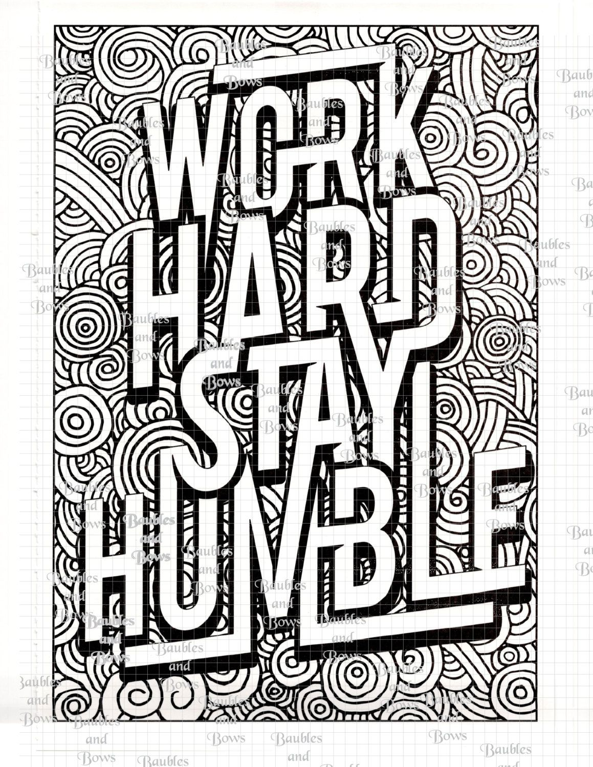 Coloring pages with quotes - Work Hard Printable Adult Mandala Coloring Page By Sewlacee