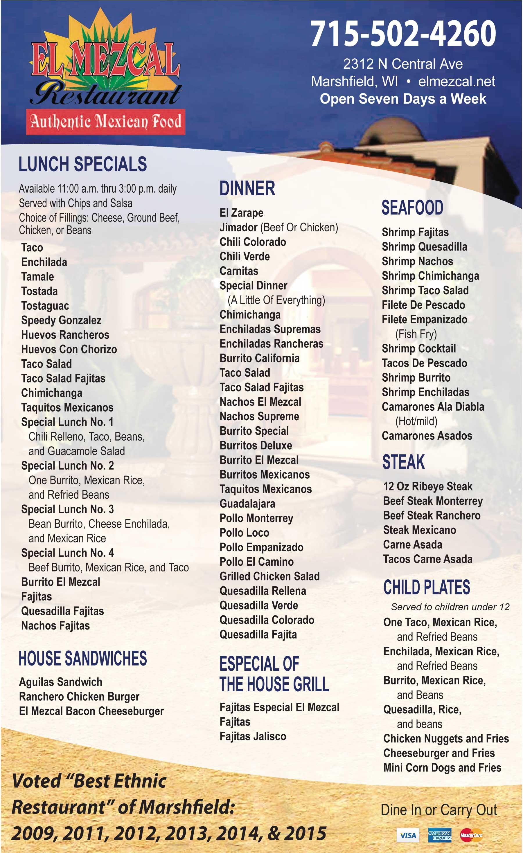 El Mezcal Restaurant Menu Marshfield Wi 2015 16 Restaurants In