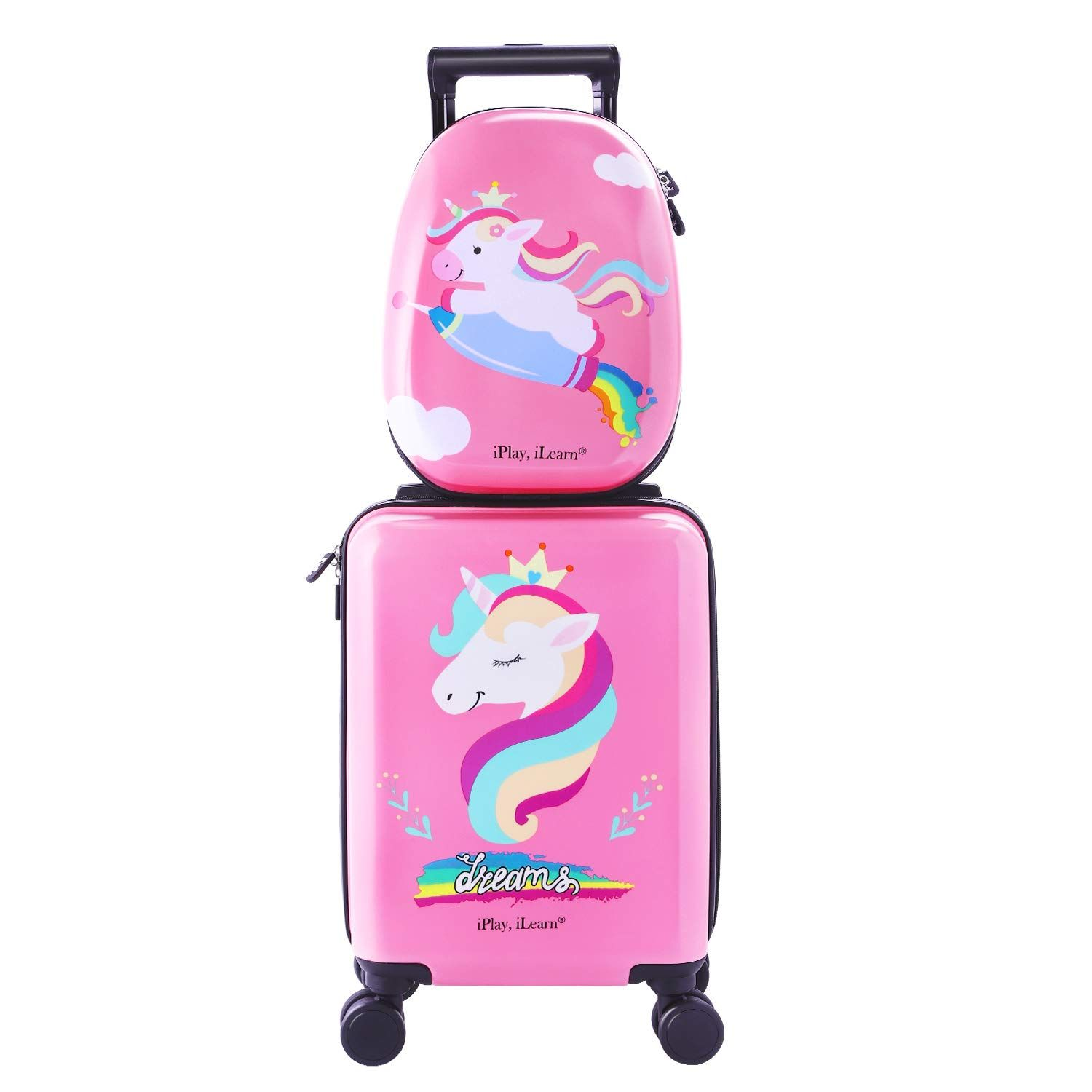 Unicorn Kids Carry On Rolling Luggage Hard Shell Travel Upright Suitcase Girls You Can Get More Details By Clickin Kids Luggage Girls Suitcase Cute Luggage