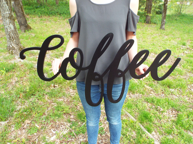 Coffee Wood Sign, Coffee Decor, Cursive Wood Sign, Cursive