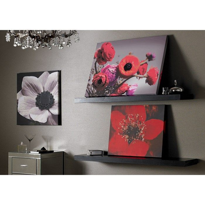Bold Bouquet With Glitter Flower Canvas - Red Floral Wall Art by Graham  Brown