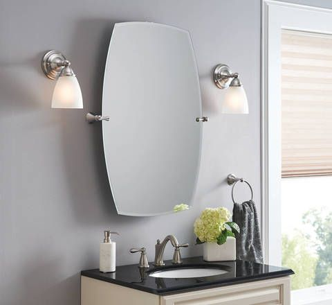 Brushed Nickel Bathroom Mirror. Shop Moen Rockcliff Extra Large 28 3 in x 36 Rectangular Frameless  Bathroom Hall BathroomBathroom MirrorsBathroom IdeasBrushed Nickel