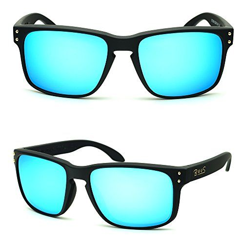 317ae1e6c8 BNUS eyewear Shades fashion blue glass lenses for Men and Women Frame Matte Black  Blue Flash    You can get additional details at the image link.